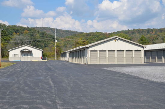Wide driveways to access storage units